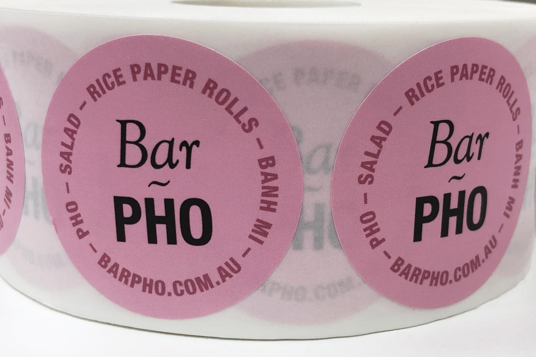 Bar Pho stickers close up