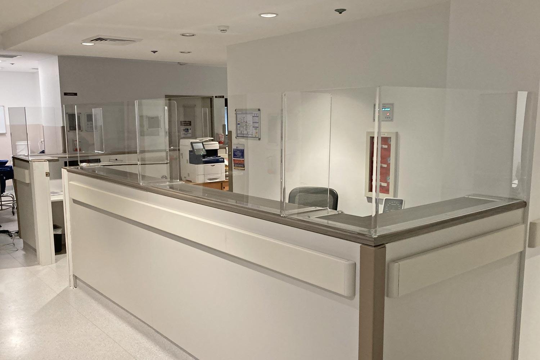 O'Brien Centre - Reception Protective Screen corner